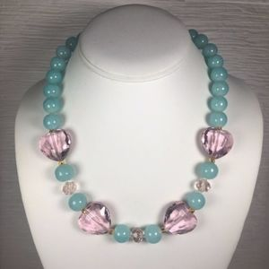 CTB Blue Glass Pink Crystal Statement Necklace